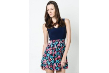 Sleeveless Dress - Navy Blue and Pink Roses