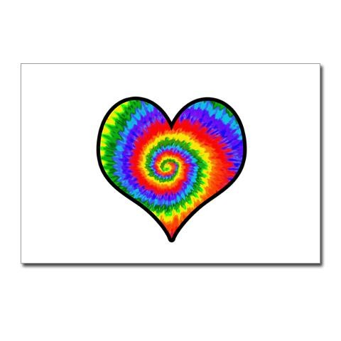 a17b2ea7c2a7 Tie Dye Rainbow Heart Cool Postcards Package of 8 by CafePress ...