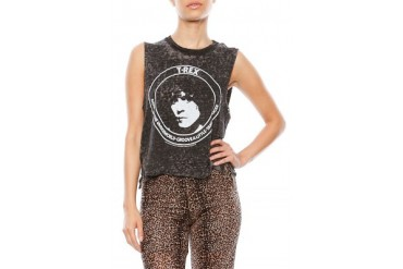 T-Rex Vintage Tri-Blend Crop Muscle Tee - designed by Chaser