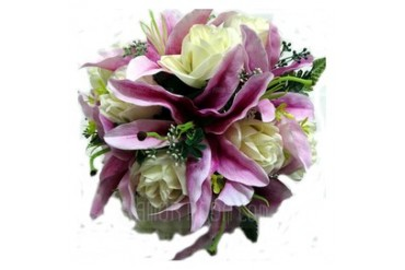 Shiny Round Satin Bridesmaid Bouquets (123031492)