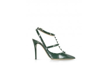 Rockstud Dark Green Leather Slingback Pump