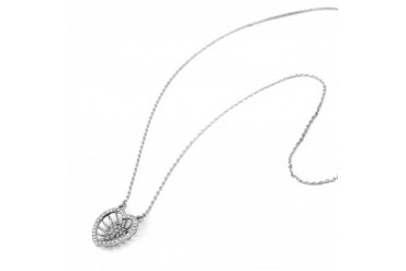 18kt Plated White Gold Nested Heart Necklace with Swarovski Elements
