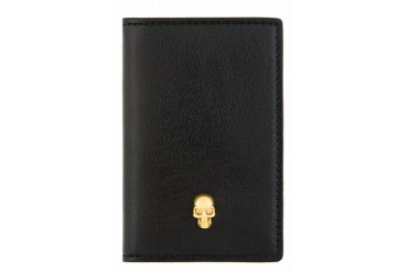 Alexander Mcqueen Black Skull Accent Leather Card Holder