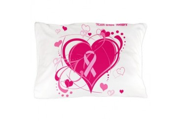 Run With Heart Pink hearts Breast cancer Pillow Case by CafePress
