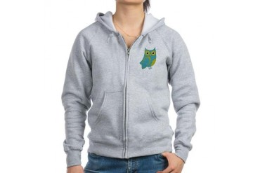 Blue Green Bow Owl Animal Women's Zip Hoodie by CafePress
