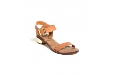 Sam Edelman 'Trina' Ankle Strap Sandals With Gold Block Heel Tan, 10