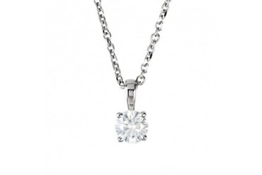 1 4 Carat Round Diamond Solitaire Necklace in 14K White Gold, 18 Inch