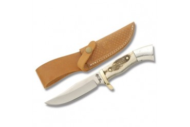 American Hunter Small Clip Point Fixed Blade Hunter with Stag Handle