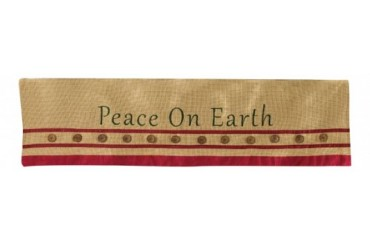 Peace On Earth Embroidered Burlap Holiday Fireplace Mantle 45 Inch Scarf