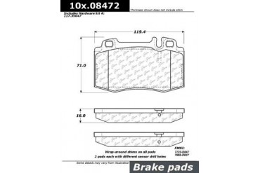 2007-2009 Mercedes Benz E350 Brake Pad Set Centric Mercedes Benz Brake Pad Set 105.08472 07 08 09