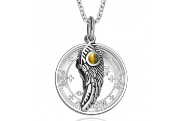 Sigil of Archangel Michael Amulet Angel Wing Tiger Eye 18 Inch Necklace
