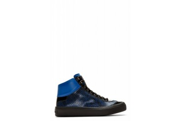 Jimmy Choo Blue Snakeskin Argyle High top Sneakers