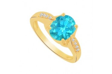 Pretty Created Blue Topaz CZ Ring in 18K Yellow Gold Vermeil