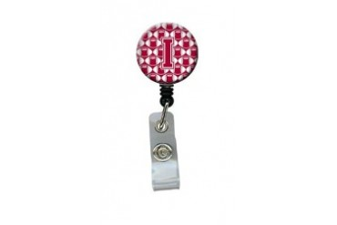 Letter I Football Crimson, grey and white Retractable Badge Reel
