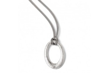 Oval and Knotted Mesh Chain Necklace in Sterling Silver, 18.5 Inch