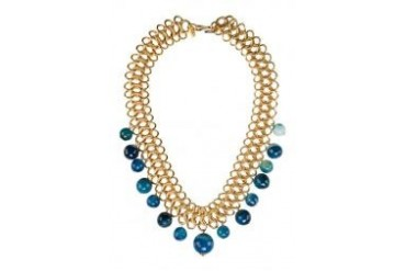 Kenneth Jay Lane Gold Link Chain Blue Agate Beads Drops Necklace