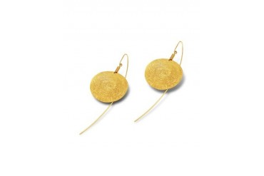 Golden Silver Etched Round Drop Earrings