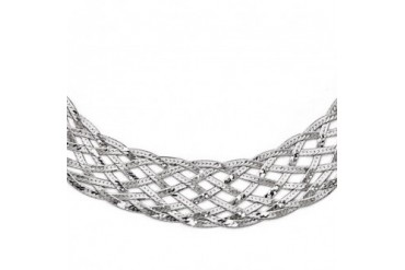 Wide Braided Herringbone Chain Necklace in Sterling Silver, 17 Inch