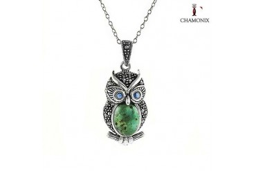 Chamonix Sterling Silver Genuine Turquoise & Marcasite Owl Pendant
