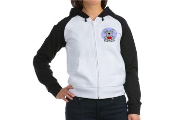 Koala Bear Heart Cool Women's Raglan Hoodie by CafePress
