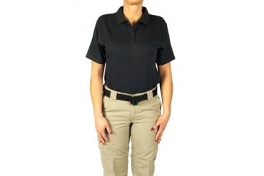 Women's 24-7 Short Sleeve Polos - Polo Shirt 24-7 Ladies Blk Ss Lr