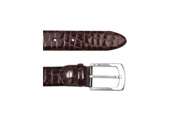 Men's Brown Croco Stamped Patent Leather Belt