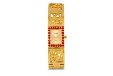 Omax JH0288G Alloy Gold (Red Stone) Watch