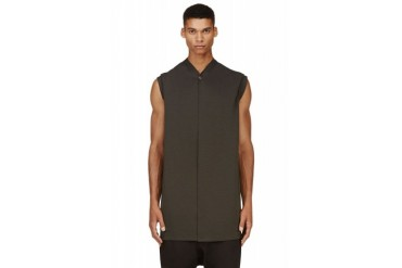Rick Owens Grey Hooded Wrap Vest