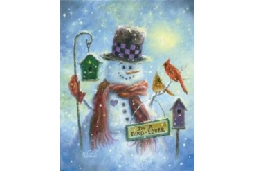 Bird Lover Snowman Poster Print by Vicki Wade (11 x 14)