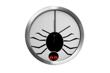 Halloween Spider hanging by a Web Modern Wall Cloc Halloween Modern Wall Clock by CafePress