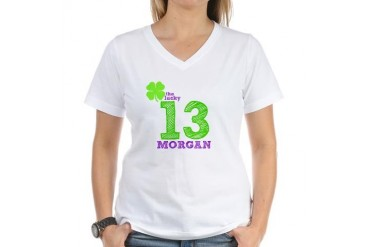 The Lucky 13 Family Women's V-Neck T-Shirt by CafePress