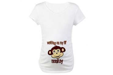 Waiting on my monkey Maternity T-Shirt