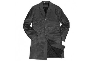 Men's Black Italian Genuine Leather Coat