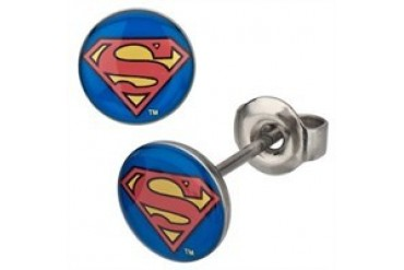 DC Comics Superman Round Logo Stainless Steel Stud Earrings
