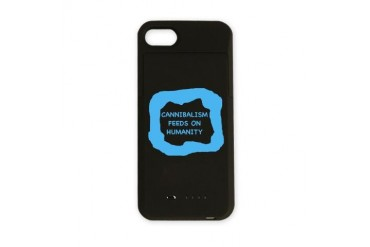 Cannibalism feeds on humanity Blue iPhone Charger Case by CafePress