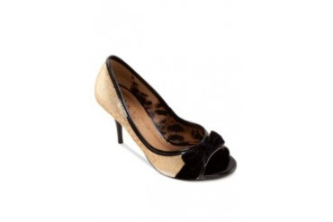 Biondini by Shoeville Peeptoe Heels with Velvet Bow