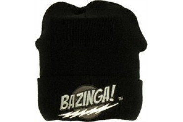 Big Bang Theory Bazinga Black Cuff Embroidered Beanie