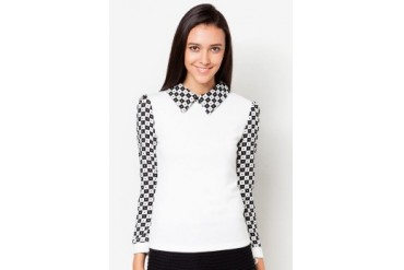 VnJ Long Sleeves Blouse With Abstract Printed Detail