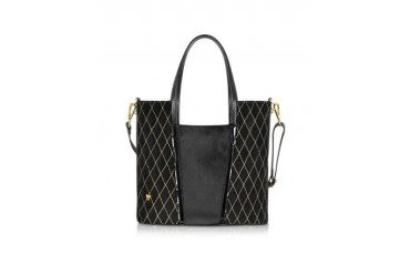 Black Pony Hair and Calf Leather Tote