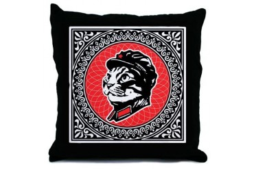 Chairman Meow Propaganda Throw Pillow