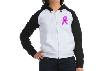 Breast cancer awareness think pink ribbon large.p Breast cancer Women's Raglan Hoodie by CafePress