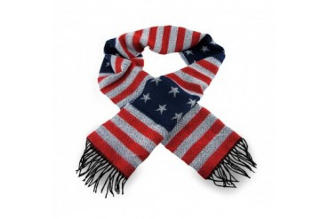 100% Cashmere American Flag Print Winter Scarf