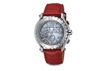 Eyki EYKI (SS0081G) MOVING SKULL SIL RED CRYSTAL JAPAN CHRONOGRAPH WATCH