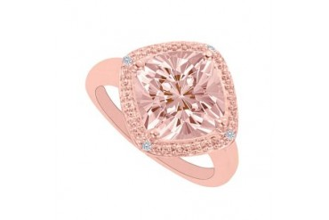 Morganite and Cubic Zirconia Milgrain Engagement Ring