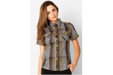 Voerin Plaid Shirt Short Sleeve