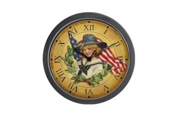 Vintage Patriotic Clock Vintage Wall Clock by CafePress