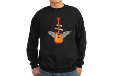 e-guitar wings rock and roll will never die Sweats Skull Sweatshirt dark by CafePress