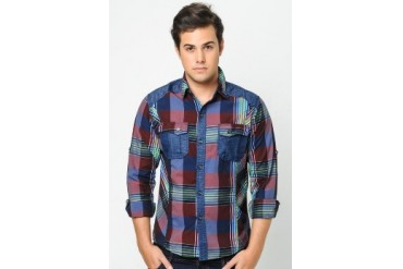Philbert Checkered Denim Shirt