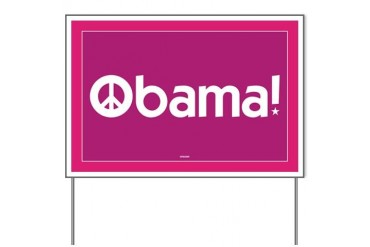 Pink Obama for Peace Yard Sign