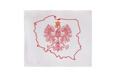 Red Polish Map With Eagle Stadium Blanket Family Throw Blanket by CafePress